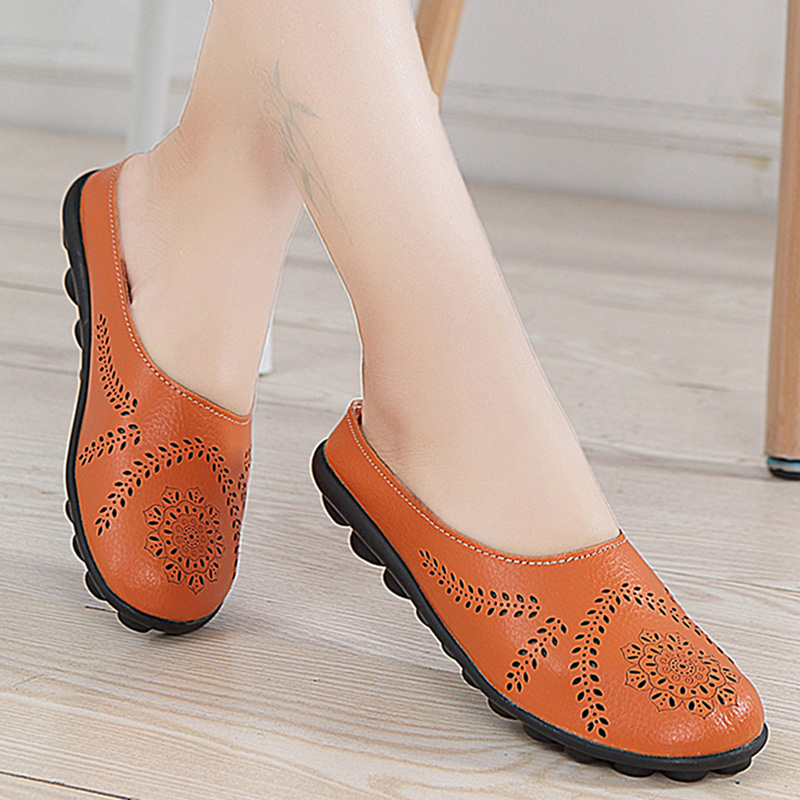 2019 Spring Summer Women Shoes Size 43 Women Flats With Genuine   Leather   Chaussures Femme Slip On Women Loafers Flat Shoes Woman