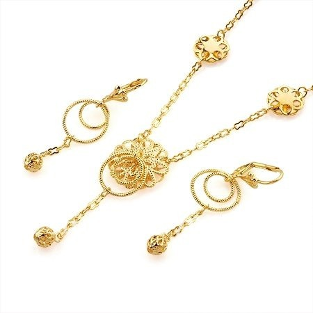 fashion jewelry set women 18k yellow gold filled vogue flower necklace earrings set jewelry gift jewellry set