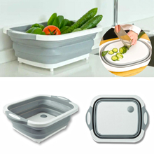 3 In 1 Foldable Chopping Blocks Kitchen Cutting Board Folding Wash Travel Basin Drain Basket Washing Organizer