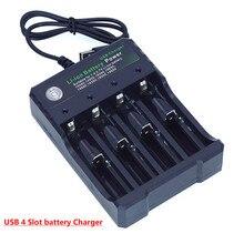 Cargador de batería de ion de litio de 4 ranuras, cargador de batería portátil de carga independiente por USB, cigarrillo electrónico 18650 18350 16340 14500