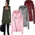 Outono Inverno Quente Mulheres Casual Outwear Casaco Com Capuz Moletom Com Capuz Casaco de Moletom Com Capuz da camisola Jumper Top C0141