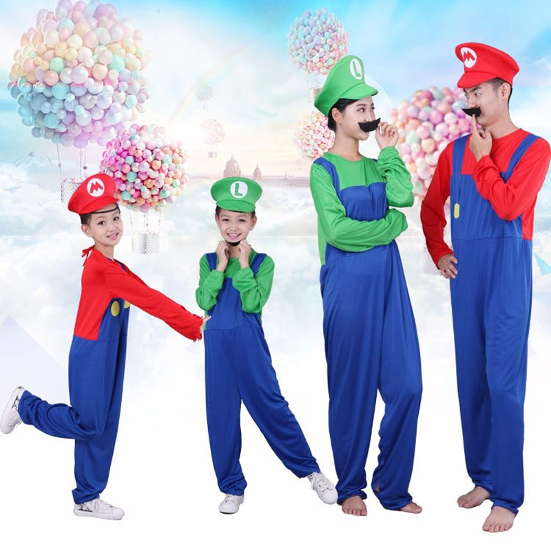 Sale Halloween Adult Kids Funny Cosplay Costumes Super Mario Luigi Brothers Plumber Mens Party Costume Womens Children