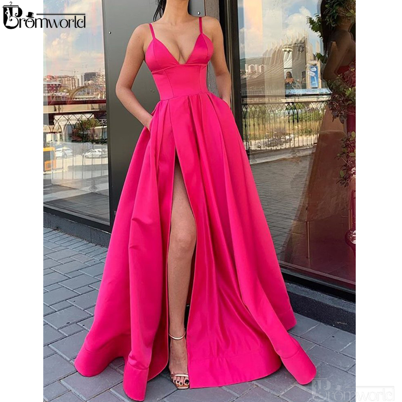 Yellow Long Prom Dresses 2019 V-Neck A-Line Satin High Slit Sexy Party Maxys Long Prom Gown With Pockets Robe De Soiree