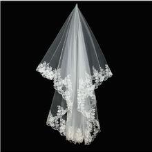 Wuzhiyi Высокое качество Дешевые Свадебные 2 слоя кружева Свадебные вуали Короткие Свадебные фаты вуаль mariage veu de noiva