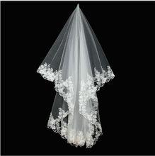 Wuzhiyi คุณภาพสูงเจ้าสาว 2 ชั้นลูกไม้ผ้าคลุมหน้าสั้นเจ้าสาว velos de novia voile mariage veu De noiva 2018