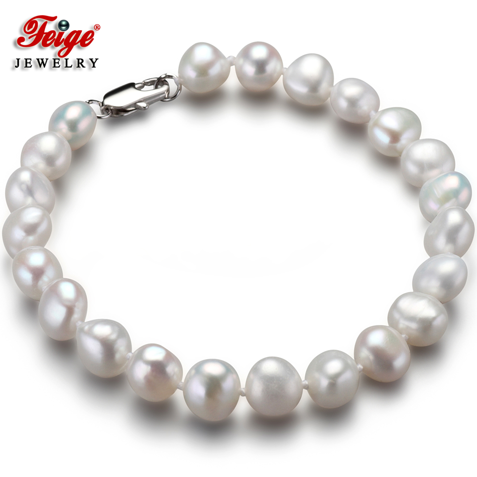 Classic Natural Baroque Pearl Bracelet for Women Anniversary Jewelry Gift 7-8MM White Freshwater Pearl Jewellery Wholesale FEIGEClassic Natural Baroque Pearl Bracelet for Women Anniversary Jewelry Gift 7-8MM White Freshwater Pearl Jewellery Wholesale FEIGE