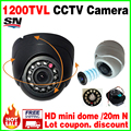 HOT Sale!small 1/3cmos read 1200TVL Mini Indoor Dome Hd Cctv Security Analog Camera IRcut 12LED Infrared Night Vision 20m color