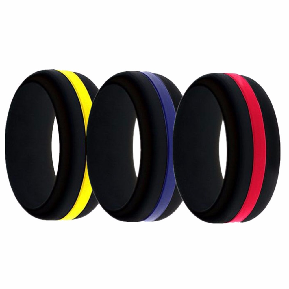 Black Silicone Ring For Men Changeable Wedding Bands Variety Sizes Middle Line And Plain - Red Line/Blue Line/Yellow Line
