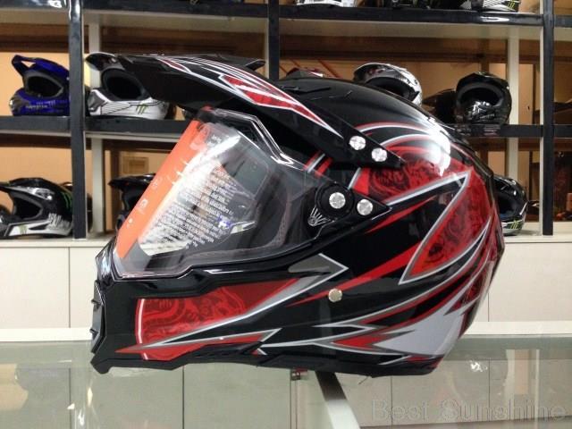 Red Motorcycle Off Road Helmets Full Face Helmet Mountain Bike