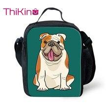 Thikin Casual Bulldog Pattern Lunch Bags for Teen Boys Fashion Portable Cooler Box Cartoon Tote Picnic Pouch