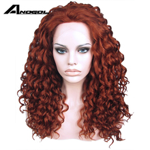 Anogol Hand Tied Long Kinky Curly Auburn High Temperature Fiber Auburn Red Glueless  Synthetic  Lace Front Wig With Free Part