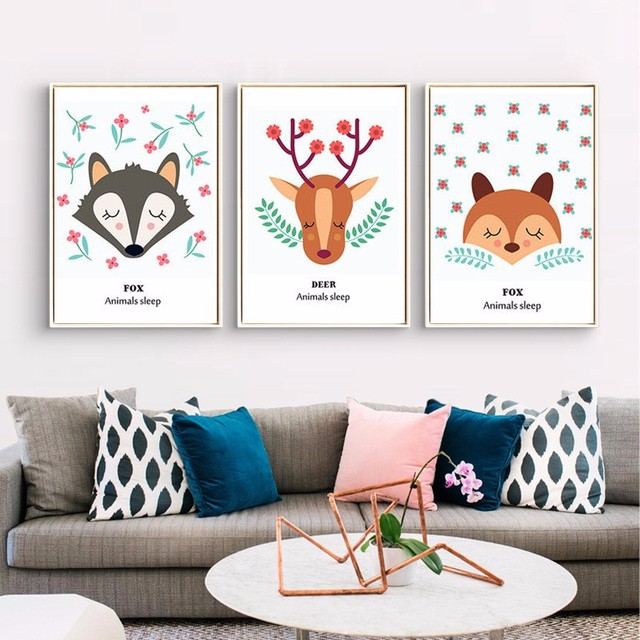 NEW Cartoon Lovely Fox and deer Nordic kids room Posters and prints ...