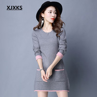 XJXKS Autumn And Winter 2018 New Fashion Women Long Sweaters And Pullovers M XXL Pockets Round Neck Sweater Dresses