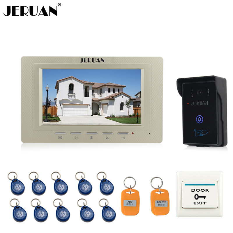 JERUAN 7 inch Video Intercom Video Door Phone System 1 monitor + 700TVL RFID Access Waterproof Touch key Camera FREE SHIPPING jeruan new 7 inch touch key color video intercom entry door phone system rfid access doorbell camera 1 monitor in stock