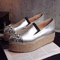 2016 Fashion Shoes Woman Genuine Leather Famous Women Rhinestones Loafers Silver And Red Womens Creeper Platform
