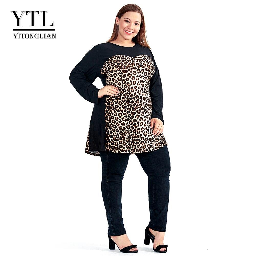 Frauen Plus Größe Shift Kleid Leopard Colorblock Große Größe Frau Kleid 2018 Frühling Sommer Tunika Schlank Party Kleid 5XL 6XL 7XL H102