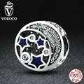 VOROCO 100% Real 925 Sterling Silver Round Blue STARS Clearly CZ Bead Charms Fit Pandora Women Bracelets DIY Accessories S379