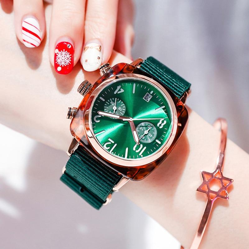 Fashion Creative Women Watch 2019 Luxury Rose Gold Ladies Square Quartz Wristwatches Casual Green Nylon Strap Clock Dropshipping
