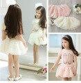 Новые 2016 новорожденных девочек одежда установить Балета футболку + rose pattern юбка Девушки устанавливает костюмы для малышей девушки лето одежда Для 2T ~ 7Y