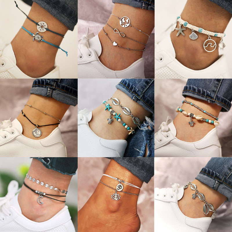 Creative Fashion Alloy Shell Turtle Pendant Starfish Anklet Set Variety Style Rope Beads Bangle Boho Beach Holiday Accessories