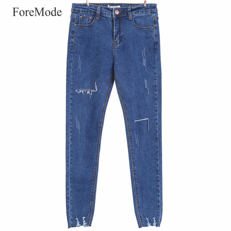 ForeMode High Waist  Skinny Jeans Female Pencil Pants  Boyfriend hole ripped jeans Cool denim Women Jeans new 2017 boyfriend hole ripped jeans women pants cool denim vintage skinny pencil jeans high waist casual pants female p45