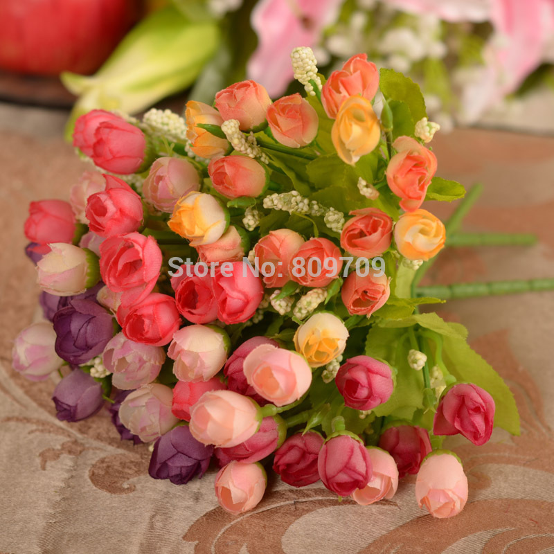50pcs Artificial Silk 15 Mini Spring Roses Rose Bud Flower Arrangement Plant Household Adornment Wedding Home Party Decoration