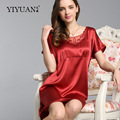 100% Natural Silk Nightdress Female Lace Round Neck Nightgowns Summer Short Sleeve Women Silk Sleepwear S55111