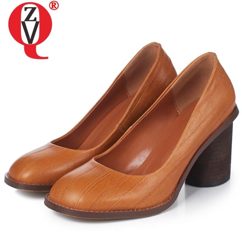 ZVQ Oficina mujer bombas vintage cuero de vaca genuino 8,5 cm tacones altos mujeres zapatos moda marrón negro punta redonda trabajo bombas-in Zapatos de tacón de mujer from zapatos    1