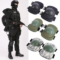4 Unids Adulto Conjunto Almohadilla Protectora Gear Combat Tactical Militar Deportes Codo Rodilla Protector de Codo y Rodilleras