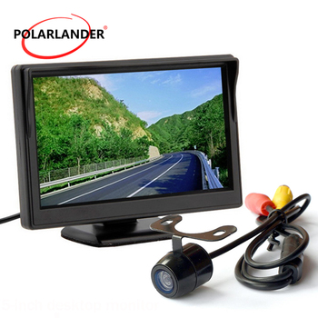 Parking Monitor Reversing Camera Bus/Car 18.5mm LED HD Desktop 5 Inch TFT Screen With Lamp 12-24V Plug-In Rear Cam Night Vision image
