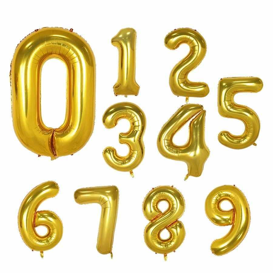 """1 pçs 40 """"número balões folha digital balões para decorações de festa aniversário crianças adulto balão de ar hélio globos"""