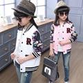 Jaquetas e casacos de meninas primavera outono 2017 meninas jaqueta de beisebol flores rosa branca roupa das crianças roupa dos miúdos esportes