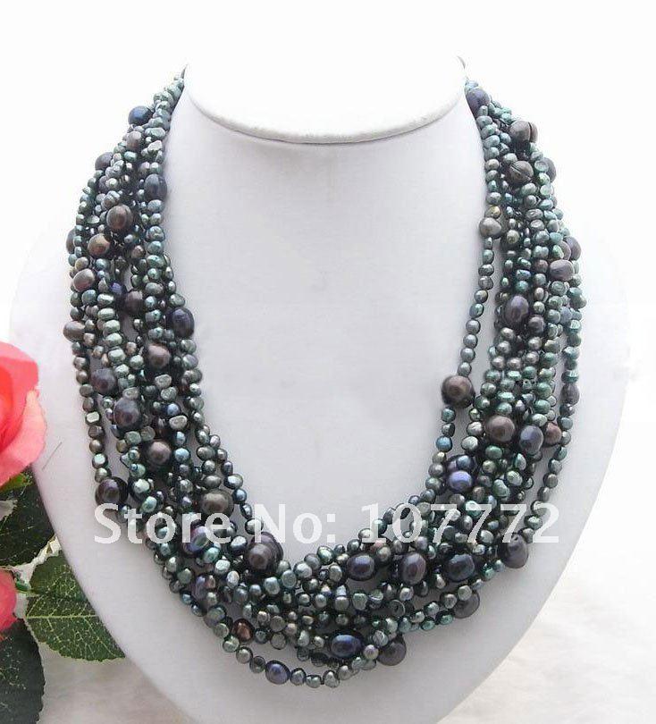 9 прядей черное жемчужное ожерелье