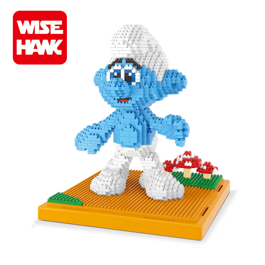 WiseHawk Nanoblock Toy Clumsy Grouchy Diamond Building Bricks Action Figure Blue Wizard 3D Assembly Model Christmas Gift For Kid mr clumsy