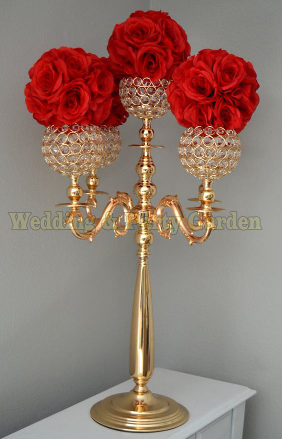 H75cm Gold Candelabra Flower Stand Wedding Centerpiece Crystal Candle Holder Wedding Decoration 10 Pcs/lot To Assure Years Of Trouble-Free Service Home & Garden