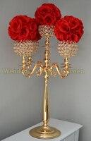 H75cm Złote kandelabry centralnym ślubu kryształ świecznik Stoiska Kwiatowe dekoracje ślubne 10 sztuk/partia