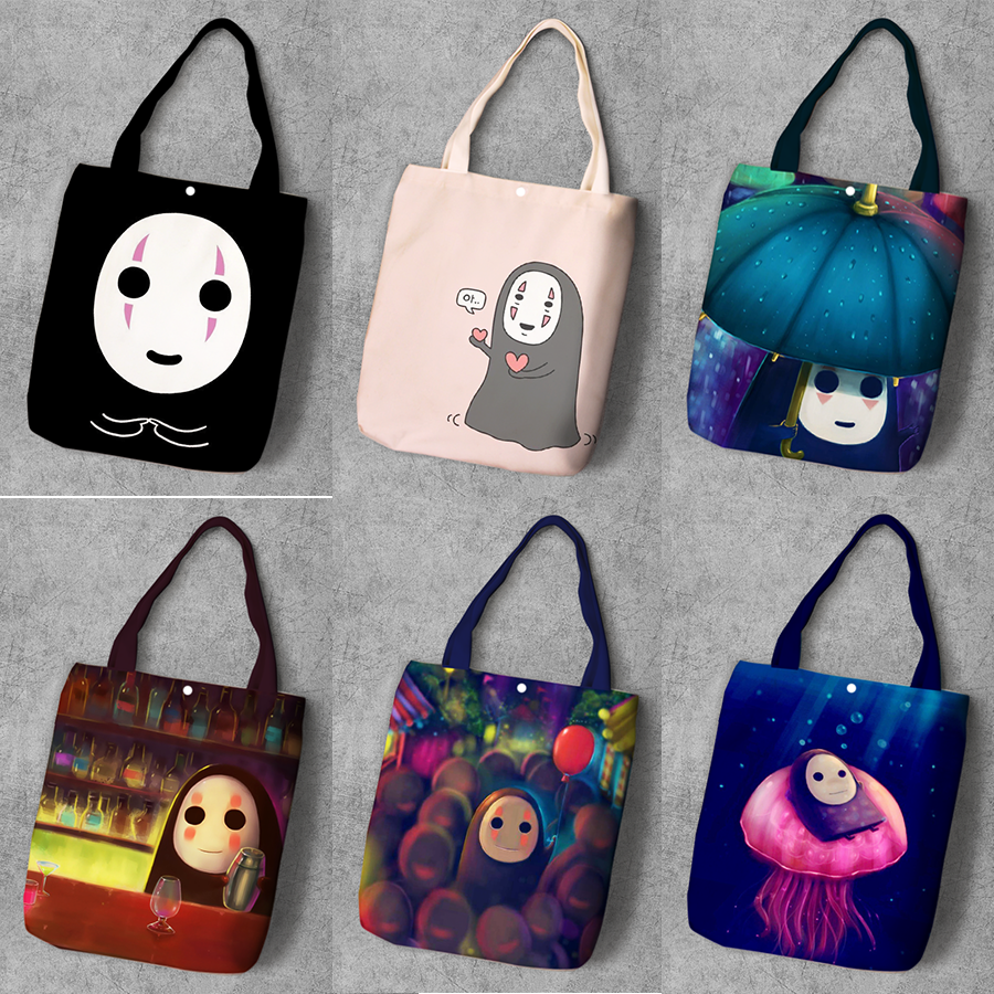 <font><b>Spirited</b></font> <font><b>Away</b></font> No Face man Cartoon Student Printed Canvas Shopping <font><b>Backpack</b></font> Large Capacity Tote Ladies Casual Shoulder Bags image