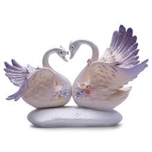 2PC Europe Style Couple Ceramic Swan Figurine Toy Creative Decoration Model Wedding Home Accessories Craft Gifts