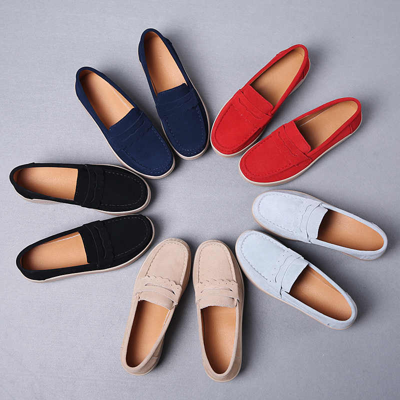 2019 ฤดูใบไม้ผลิผู้หญิงรองเท้า Creepers แพลตฟอร์มรองเท้าผู้หญิงรองเท้าผ้าใบแบบสบายๆบนแฟลตหนัง Suede สุภาพสตรี Loafers