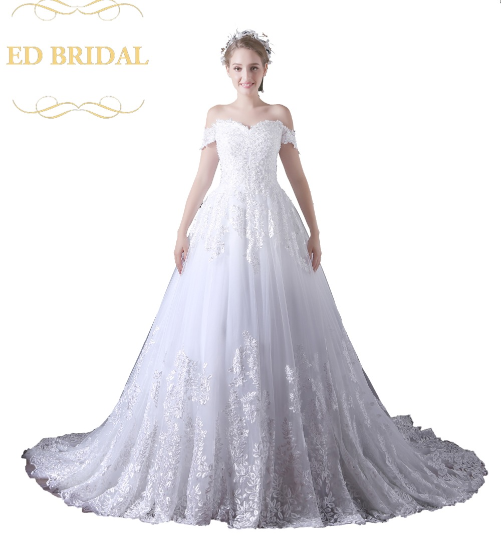 Off The Shoulder Ball Gown Tulle Beaded Lace Wedding Dress