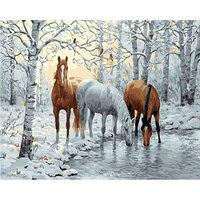 ทิวทัศน์หิมะและม้ามือสีภาพวาดสีน้ำมันโดยตัวเลขบนผืนผ้าใบDiyดิจิตอลจิตรกรรมฝาผนังศิลปะตก...