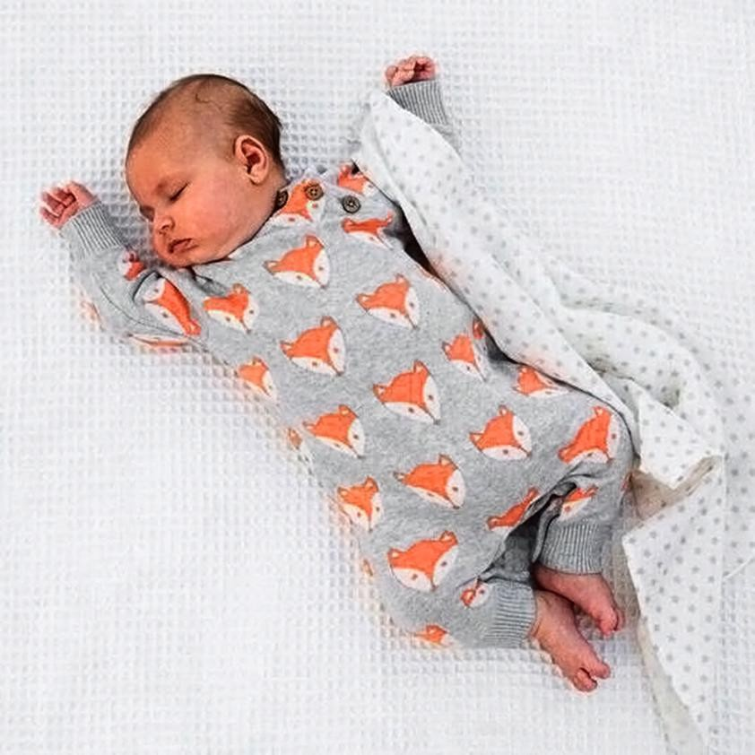 MUQGEW 2018 Cute Newborn Infant Romper Baby Girl Boy Fox Print Warm Jumpsuit long sleeve Clothes Body Para Bebes Q06 cute newborn baby girl clothes little princess striped bow romper sunsuit infant bebes jumpsuit children clothes