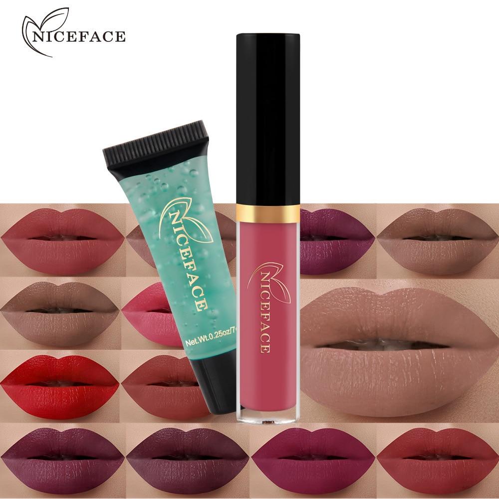 NICEFACE Brand 24 Colors 2 pcs/lots Matte Liquid Lipstick Cleansing Gel Waterproof Velvet Nude Lip Gloss Makeup Sets Brighten 3