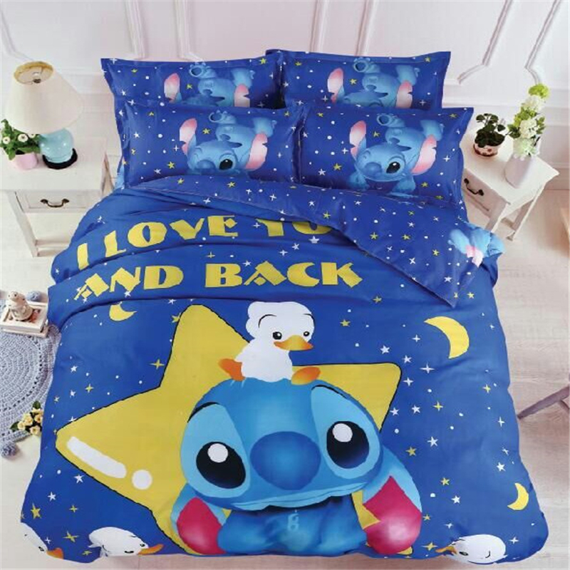 Home Textile Cartoon Stitch Bedding Set Children Cotton Duvet Cover Set with Bed Sheet Pillowcases Twin Full Queen Free Shipping