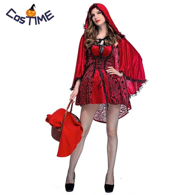 c74aa68be Gothic Red Riding Hood Adult Costume Floral Lace Asymmetric Dress with Cape  Outfit Halloween Fancy Dress