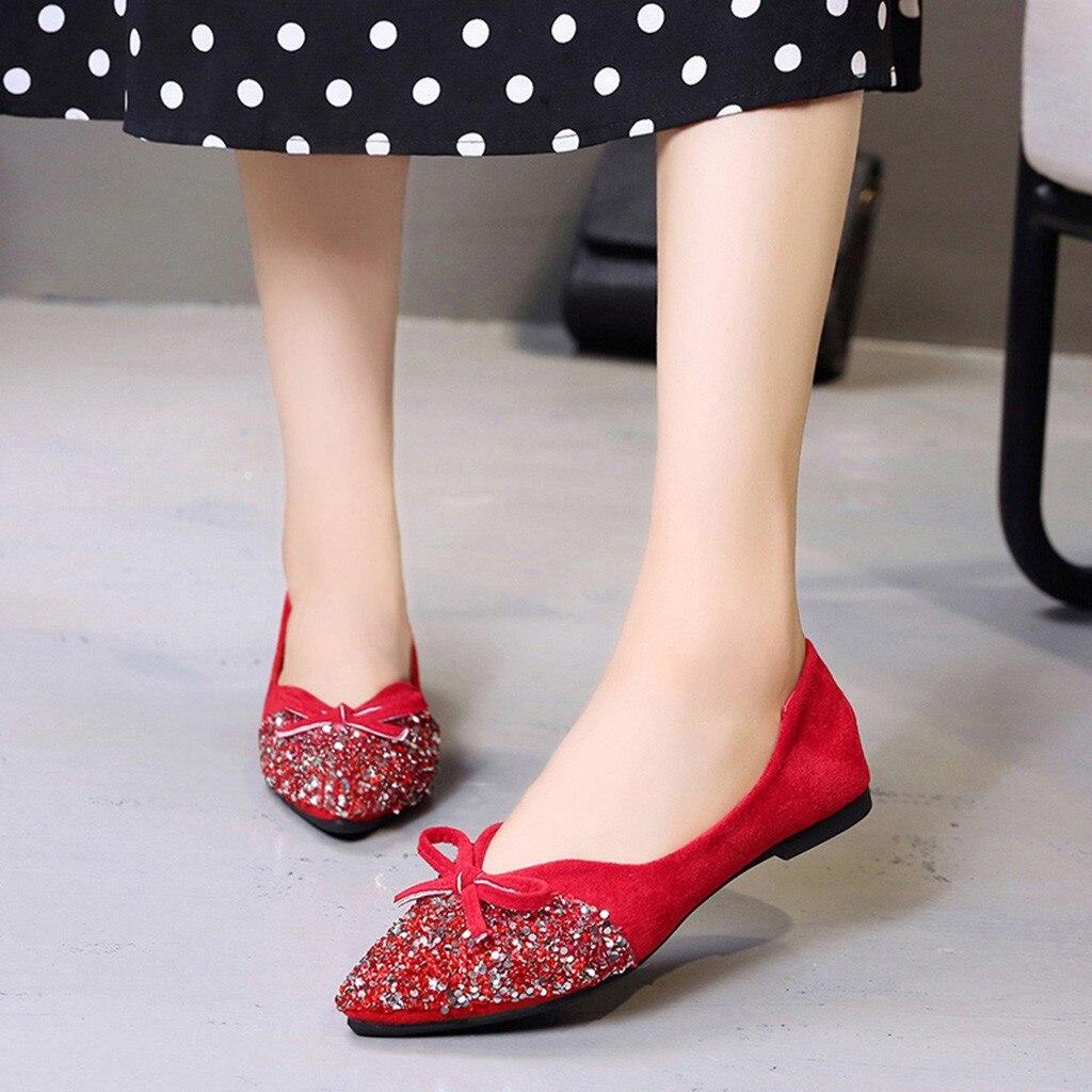 Printemps Bateau Automne Appartements rouge Chaussures Peu noir Femmes Beige Femme 2019 Youyedian Plat Bling Profonde Mode Casual qnAg0w8U