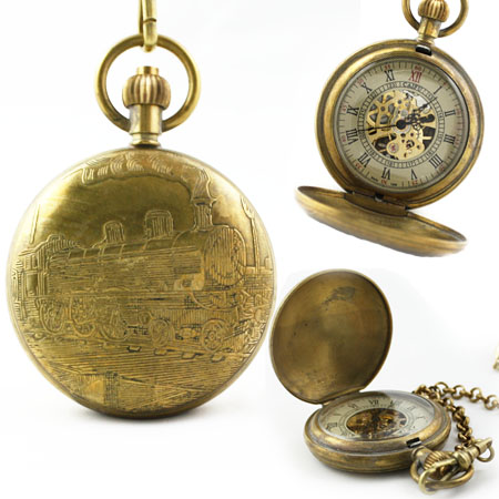 Pure Copper Train Skeleton Mechanical Pocket Watch