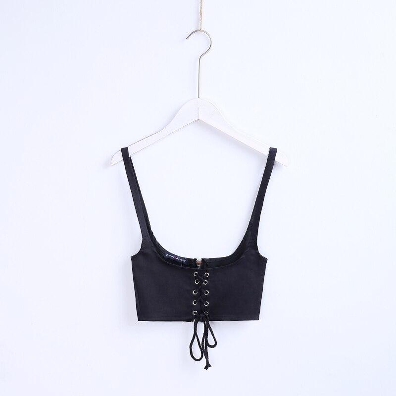 Vest Tank-Top Short Lace-Up Croset Casual Summer Women Slim Waist-Belt Vintage-Style