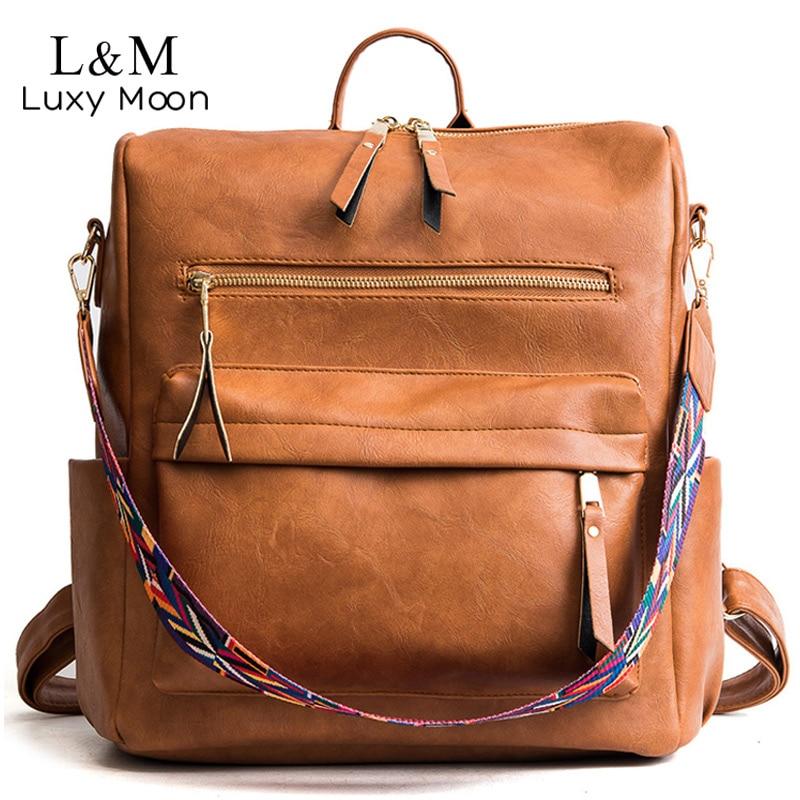 Retro Large Backpack Women PU Leather Rucksack Women's Knapsack Travel Backpacks Shoulder School Bags Mochila Back Pack XA96H