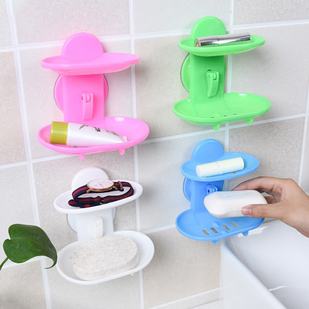 Hot Selling Bathroom Double Layers Strong Sucker Soapbox Soap Draining Holder Soap Dish
